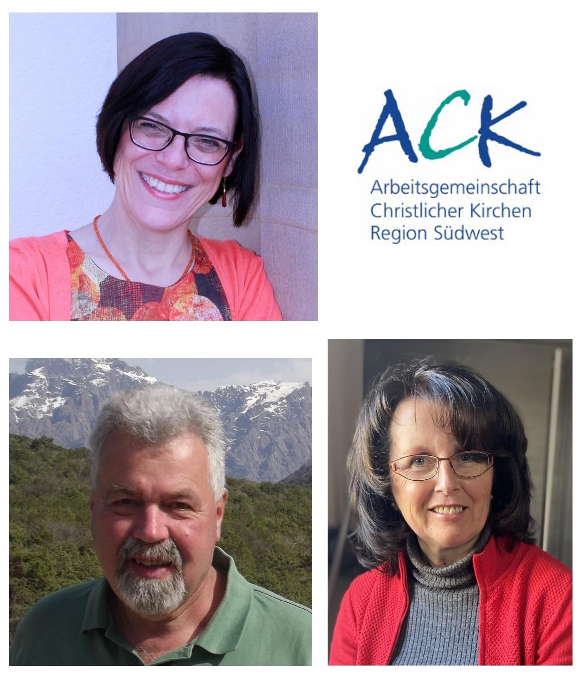 Die neue ACK-Vorsitzende Jutta Walber (oben links) und ihre Stellvertreter Jürgen Tibusek und Anna Werle (Foto: ACK-Südwest)